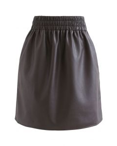 Side and Back Pocket Faux Leather Bud Skirt in Brown
