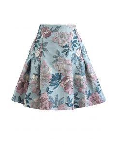 In Bloom Jacquard Flare Mini Skirt in Mint