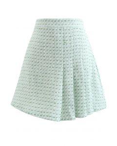 Green Front Pleated Hem Tweed Mini Skirt