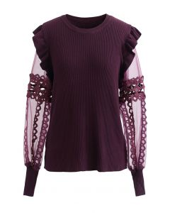 Lace-Adorned Mesh Sleeve Knit Top in Wine