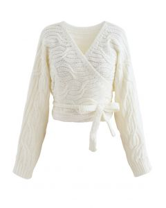 Wrap Front Braid Knit Crop Sweater in White