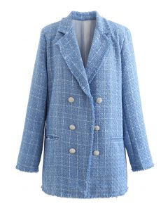 Crystal Button Decorated Frayed Tweed Coat