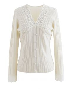 Lace Inserted Soft Touch Knit Top