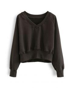 Cotton V-Neck Oversized Crop Sweatshirt in Brown