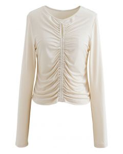 Cutout Detail Elastic Ruched Crop Top in Cream