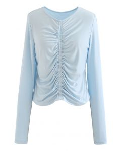 Cutout Detail Elastic Ruched Crop Top in Baby Blue