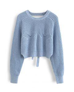Open Back Tie Bow Crop Rib Knit Sweater in Blue