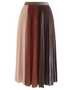 Pleated Sheen Color Block Midi Skirt in Caramel