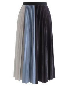 Pleated Sheen Color Block Midi Skirt in Blue