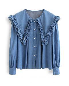 Ruffle Peter-Pan Collar Button Down Shirt