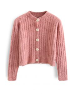 Button Down Cropped Fuzzy Knit Cardigan in Coral