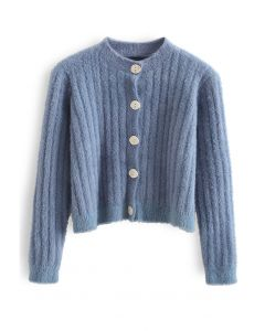 Button Down Cropped Fuzzy Knit Cardigan in Blue