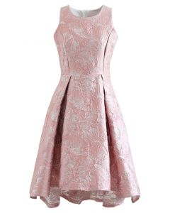 Magnolia Blossom Shimmer Jacquard Waterfall Dress in Pink