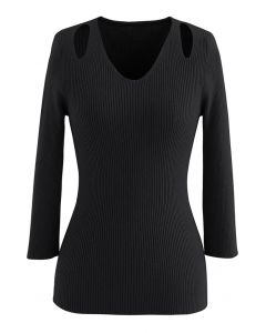Cut Out Shoulder Fitted Knit Top in Black