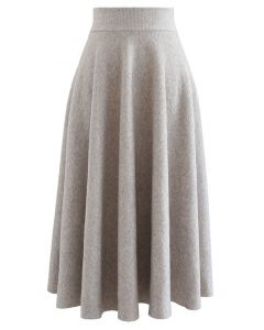 Fuzzy Soft Knit A-Line Midi Skirt in Linen