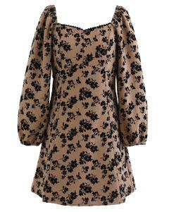 Posy Print Sweetheart Neck Mini Dress in Caramel