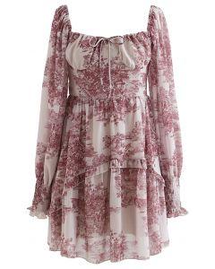 Floral Land Print Sweetheart Mini Dress
