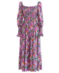 Watercolor Floral Shirred Frilling Midi Dress in Lilac