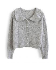 Peter Pan Collar Button Knit Cardigan in Grey