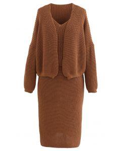 Three-Piece Rib Knit Cardigan and Pencil Skirt Set in Caramel