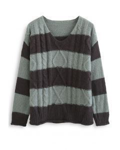 Color Blocked V-Neck Cable Knit Sweater in Sage