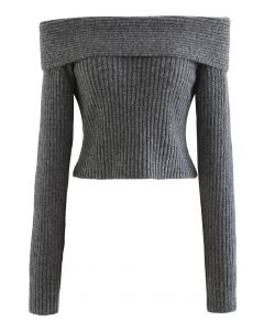 Courtly Off-Shoulder Fuzzy Crop Knit Top in Grey