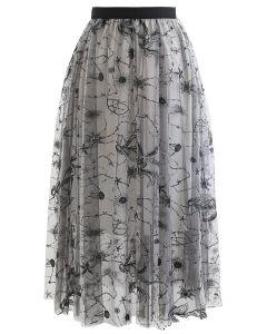 Unicorn Embroidered Sequined Mesh Tulle Midi Skirt
