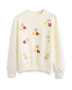 Falling Stitched Flower Soft Touch Knit Sweater