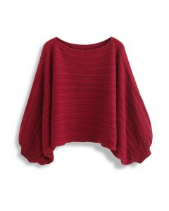 Boat Neck Batwing Sleeve Crop Sweater in Red