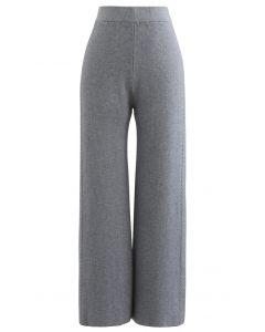 Double Braids Knit Straight Leg Pants in Grey