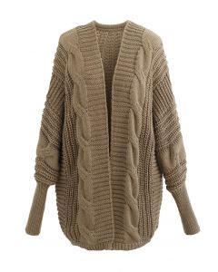 Open Front Batwing Sleeve Cable Knit Cardigan in Tan