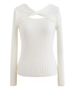 Twisted Cut Out Fitted Knit Top in Cream