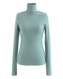 Turtleneck Thumb Hole Fitted Knit Top in Mint