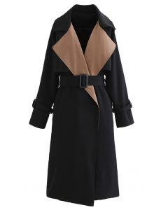 Contrast  Wide Lapel Belted Black Trench Coat
