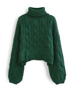 Turtleneck Braid Knit Crop Sweater in Green