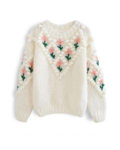 Stitch Floral Diamond Pom-Pom Hand Knit Sweater in White