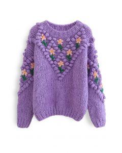 Stitch Floral Diamond Pom-Pom Hand Knit Sweater in Purple