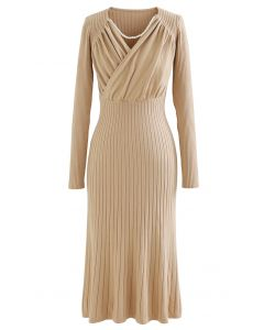 Ruched Wrap Front Ribbed Knit A-line Midi Dress in Light Tan