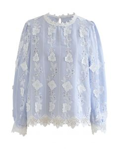 Embroidered Floral Eyelet Top in Baby Blue