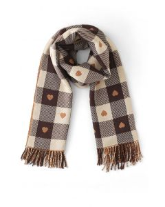Lovely Heart Check Print Scarf