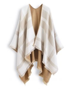 Single-Sided Check Print Reversible Poncho in Ivory