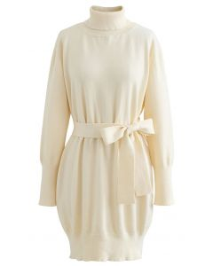 Turtleneck Self-Tie Waist Sweater Dress in Cream