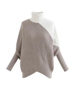 Turtleneck Batwing Sleeve Asymmetric Knit Sweater in Taupe