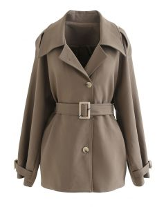 Button Down Belted Coat in Brown