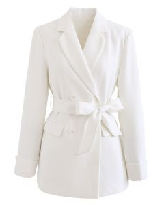 Self-Tied Bowknot Double-Breasted Blazer in White