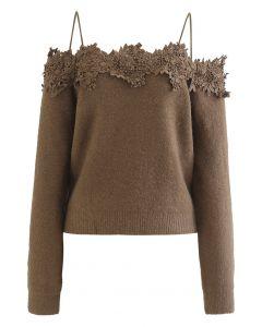3D Floral Crochet Edge Off-Shoulder Soft Knit Top in Brown