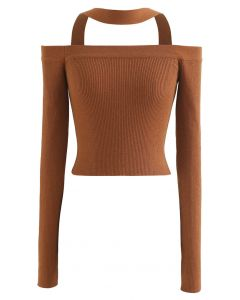 Halter Neck Off-Shoulder Crop Knit Top in Caramel