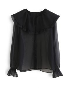 Exaggerated Peter-Pan Collar Sheer Shirt in Black