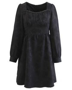 Floral Embossed Square Neck Mini Dress in Black
