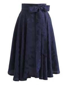 Jacquard Butterfly Bowknot Flare Midi Skirt in Navy